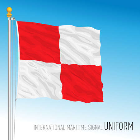 Uniform flag, international maritime signal, letter U, vector illustration