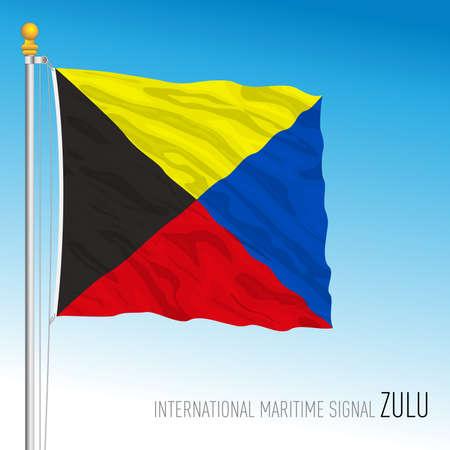 Zulu flag, international maritime signal, letter Z, vector illustration