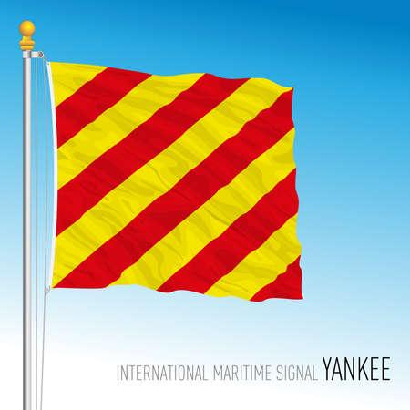 Yankee flag, international maritime signal, letter Y, vector illustration