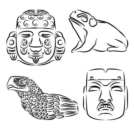 Drawings of artistic details of the aztec major temple in Mexico city, vector illustration Stock Illustratie