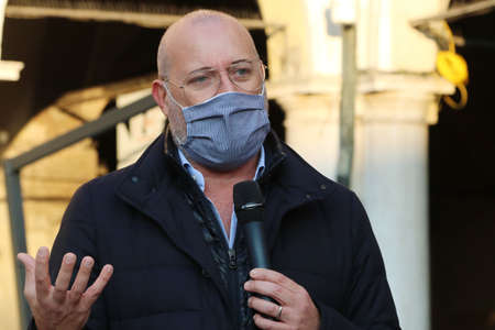 MODENA - ITALY, October 18, 2020 - Stefano Bonaccini, Emilia Romagna regional President, public speech in a premiation event in Piazza Grande square Redactioneel