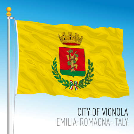 Vignola city municipal flag, Emilia Romagna, Italy, vector illustration