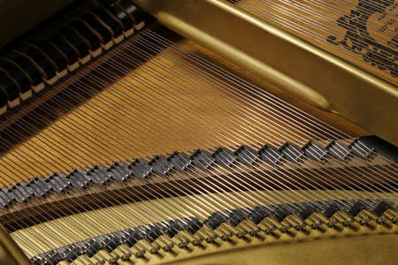 Grand piano, detail of the internal architecture and musical strings Archivio Fotografico