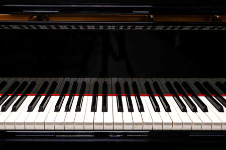 Black grand piano for classical music, detail
