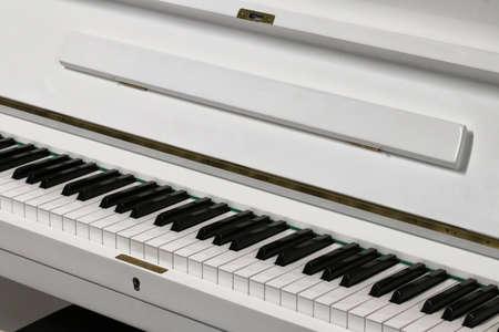 White piano for classical music, detail Archivio Fotografico