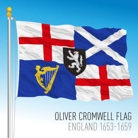 Oliver Cromwell's historical British flag, United Kingdom, 1653-1659, vector illustration