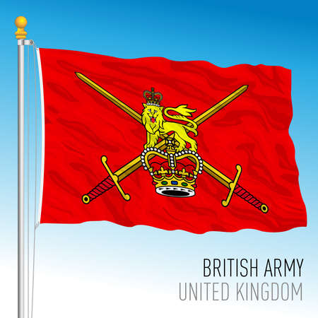 Royal Army red flag, United Kingdom, vector illustration Vettoriali