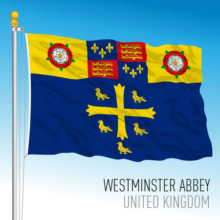 Westminster Abbey banner flag, United Kingdom, vector illustration