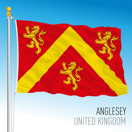 Anglesey county flag, Wales, United Kingdom, vector illustration Vettoriali