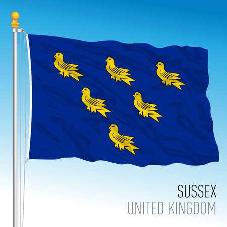 Sussex county flag, United Kingdom, vector illustration