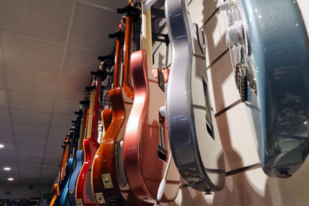 Electric guitars in a musical instrument shop