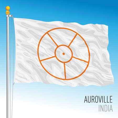 Auroville flag, Indian community, India, vector illustration