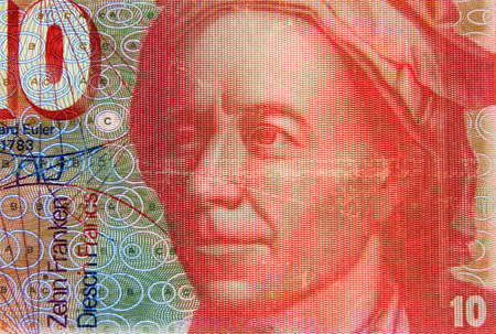 Switzerland, banknote of 10 francs Swiss central bank, 1976, 1995, portrait of Euler, astronomer, vintage and detail of the portrait
