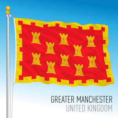 Greater Manchester county flag, United Kingdom, vector illustration