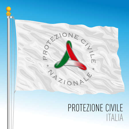 Civil Protection flag, public assistance organization, Italy, vector illustration