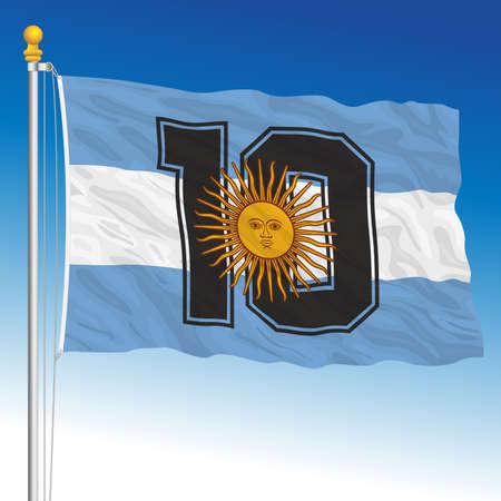 Fantasy flag of number ten Argentina football team, vector illustration