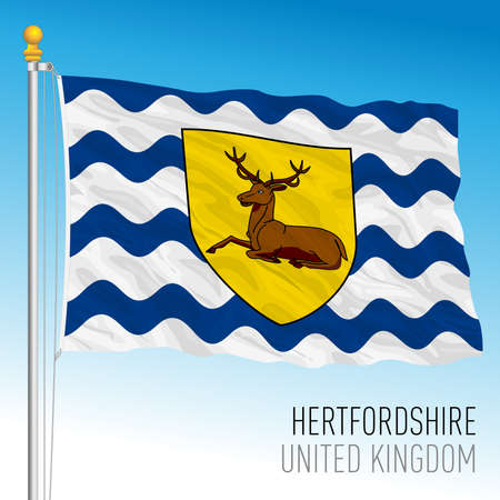 Hertfordshire county council flag, United Kingdom, vector illustration