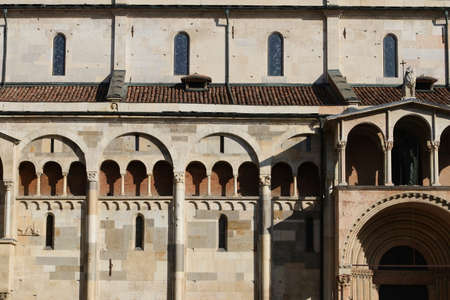 Cathedral architectural details, romanesque style, Modena, Italy