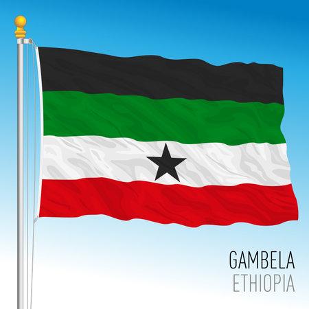 Gambela regional flag, Republic of Ethiopia, vector illustration