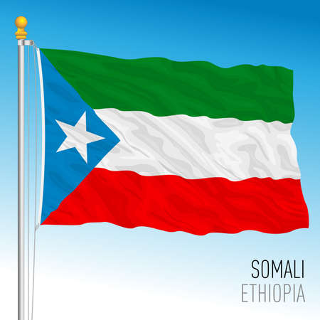 Somali regional flag, Republic of Ethiopia, vector illustration on the blue sky background