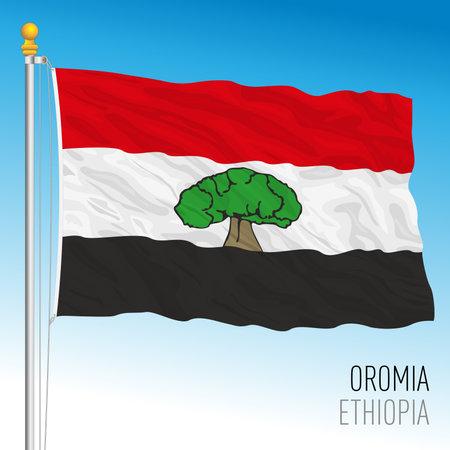 Oromia regional flag, Republic of Ethiopia, vector illustration on the blue sky background Vettoriali