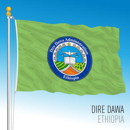 Dire Dawa regional flag, Republic of Ethiopia, vector illustration on the blue sky background