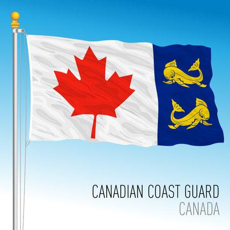 Canadian Coast Guard navy flag, Canada, vector illustration