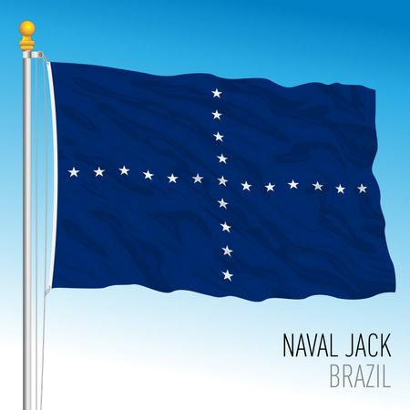 Brazilian navy jack flag, Brazil, vector illustration