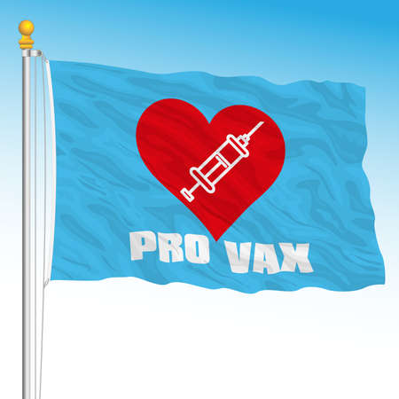 Flag with symbol of the Pro Vax movement, vector illustration