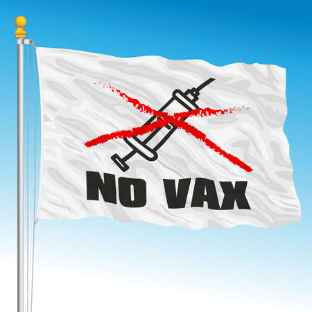 Flag with symbol of the No Vax movement, vector illustration Archivio Fotografico - 161272392
