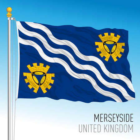 Merseyside county flag, United Kingdom, vector illustration