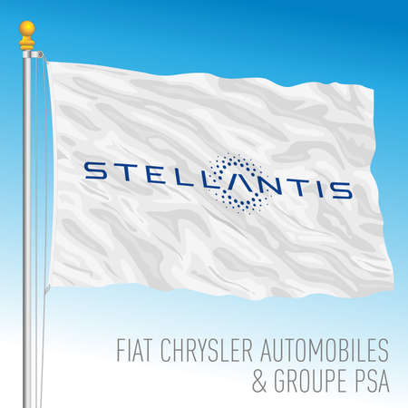 Netherlands, Year 2021, Stellantis car group flag, PSA and FCA fusion of industries, vector illustration Editoriali