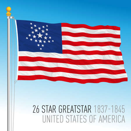 United States of America historical flag, 1837 - 1845, US 26 greatstar, vector illustration Archivio Fotografico - 161708370