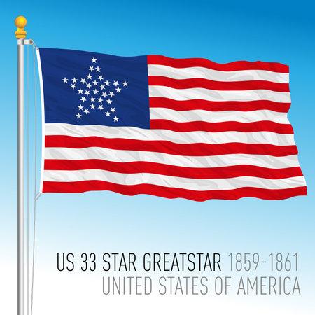 United States of America historical flag, 1859 - 1861, US 33 greatstar, vector illustration Vettoriali