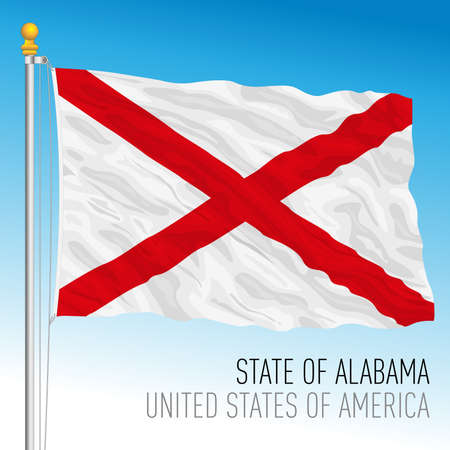 Alabama state flag, United States of America, vector illustration