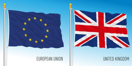 European Union and United Kingdom flags, vector illustration