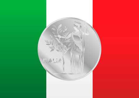 Italian flag with old vintage italian coin symbol, Italy, vector illustration