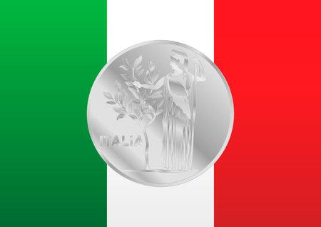 Italian flag with old vintage italian coin symbol, Italy, vector illustration
