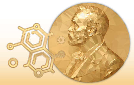 Nobel Chemistry award, gold polygonal medal and chemical symbol, vector illustration