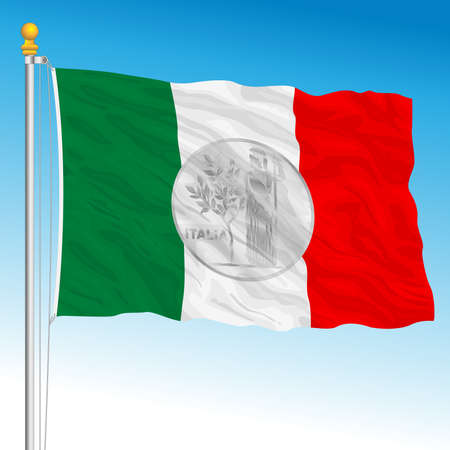 Italian flag with at the center symbol of the old 100 lire, Italy, traditional vintage coin, vector illustration Archivio Fotografico - 162759233