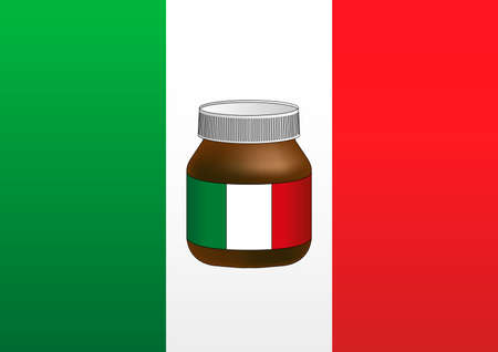 Italian flag with famous creamy chocolate jar symbol, vector illustration Archivio Fotografico - 162759235