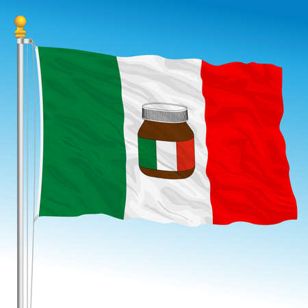 Italian flag with in the center the symbol of an Italian confectionery product in the world, chocolate spread, vector illustration Archivio Fotografico - 162759237