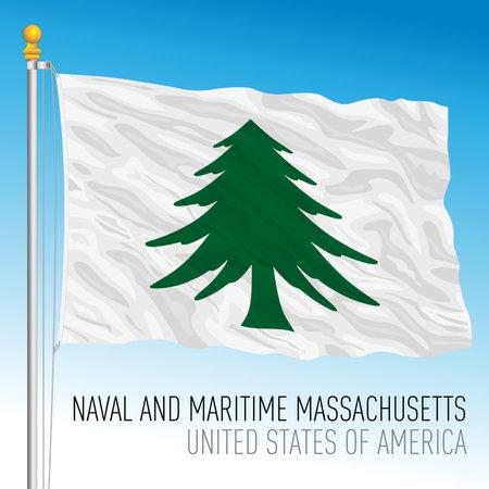 Massachusetts maritime historical flag, 1775, United States, vector illustration Archivio Fotografico - 162790256