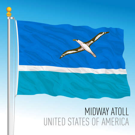 Midway atoll islands territory flag, United States, vector illustration Archivio Fotografico - 162790258