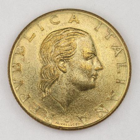 200 Lire 1984, Italian old lire coin, back side, Italy, vintage Archivio Fotografico - 162827180