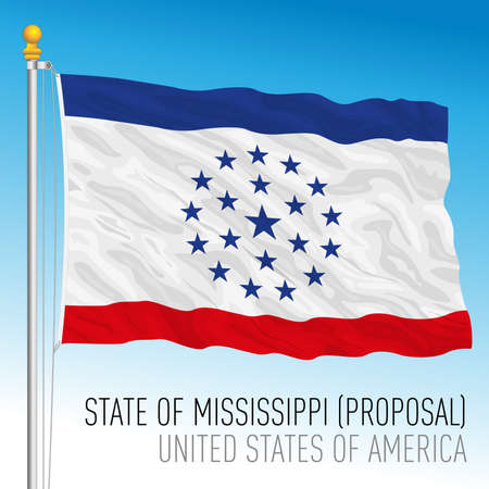 Mississippi federal state flag proposal, United States, vector illustration Archivio Fotografico - 162869427