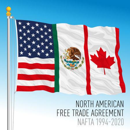 NAFTA, North American Free Trade Agreement flag, USA, Mexico, Canada, vector illustration Archivio Fotografico - 162869434