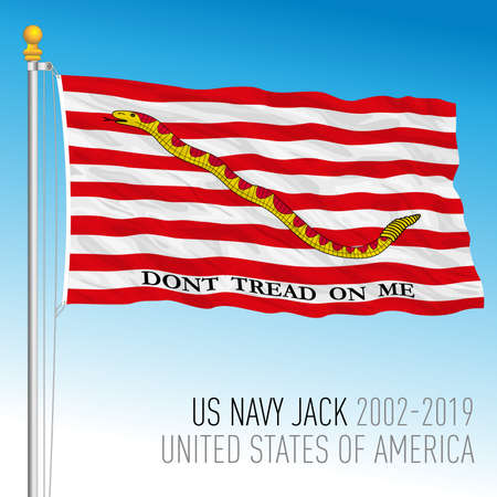 US Navy jack flag with snake symbol, United States, vector illustration Archivio Fotografico - 162950656