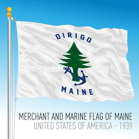 Maine navy historical flag, 1939, United States, vector illustration Archivio Fotografico - 162950660