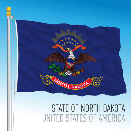 North Dakota federal state flag, United States, vector illustration Archivio Fotografico - 163010220